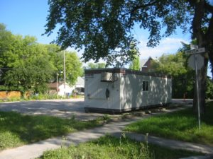 Concord Projects trailer on OGHC site, NW corner Preston and Evanson.